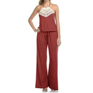 Lucky Brand Crochet Jumpsuit Cover Up XS/S